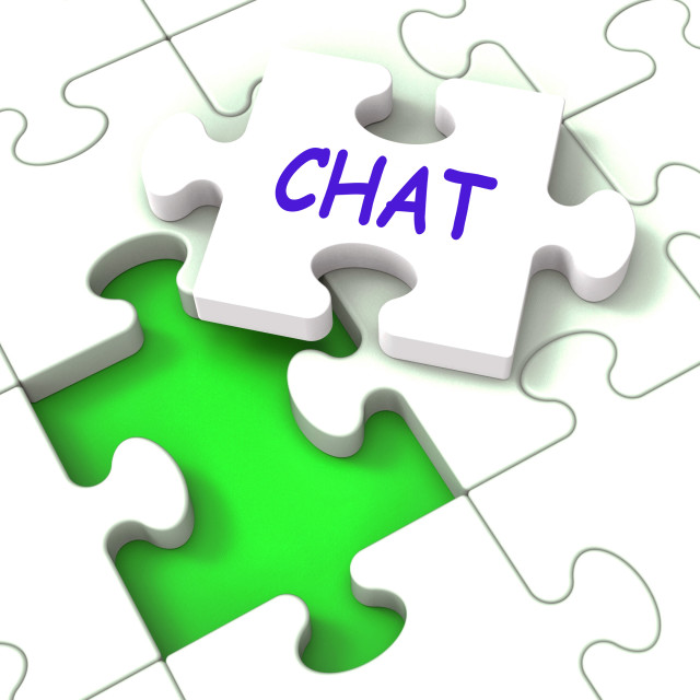 """Chat Jigsaw Shows Chatting Talking Typing Or Texting"" stock image"