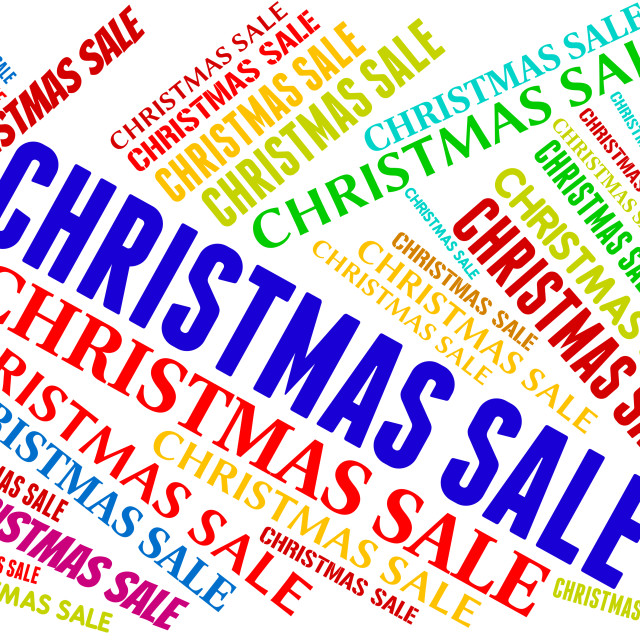 """Christmas Sale Represents Bargain Save And Text"" stock image"