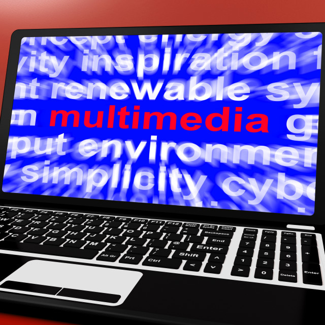 """""""Multimedia Word On Laptop Showing Technology For Movies"""" stock image"""