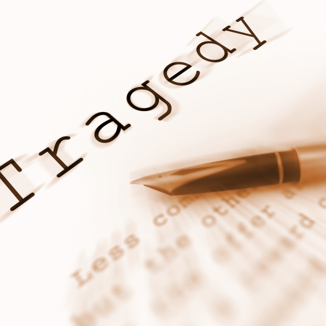 """Tragedy Word Displays Catastrophe Misfortune Or Devastation"" stock image"