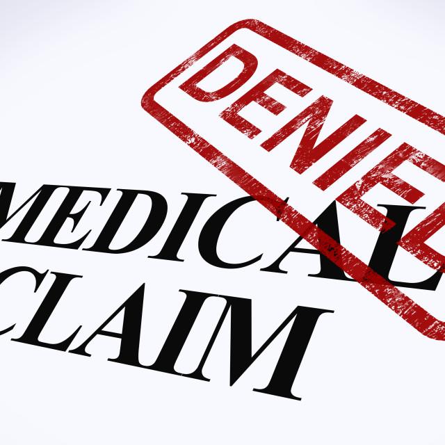 """Medical Claim Denied Stamp Shows Unsuccessful Medical Reimbursement"" stock image"