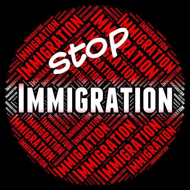 """""""Stop Immigration Represents Immigrants Immigrate And Stopping"""" stock image"""