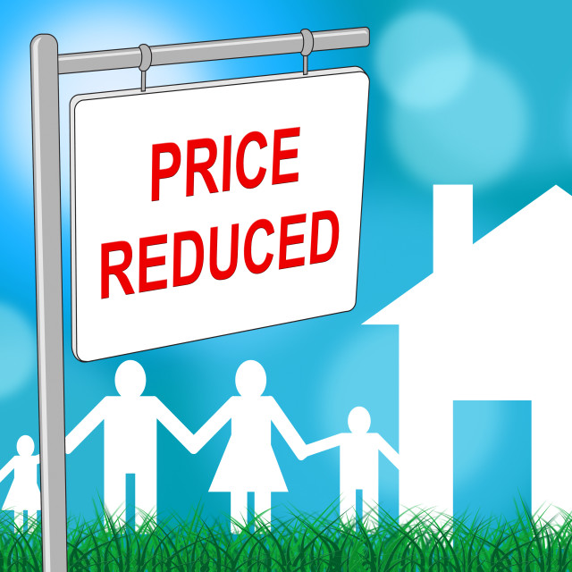 """House Price Reduced Indicates Clearance Homes And Bargain"" stock image"