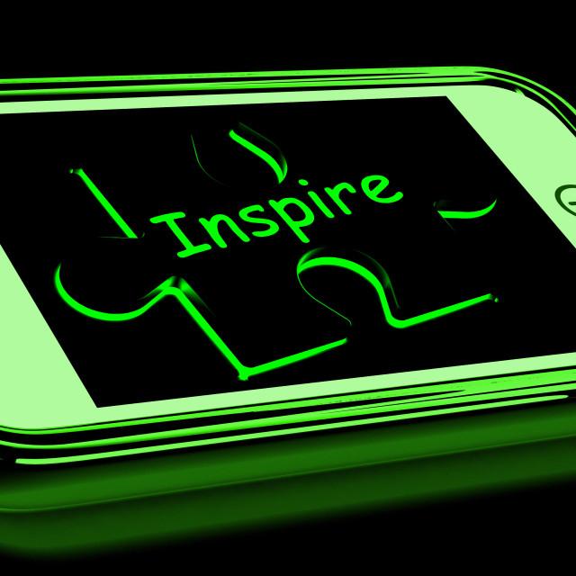 """Inspire On Smartphone Showing Encouragement"" stock image"