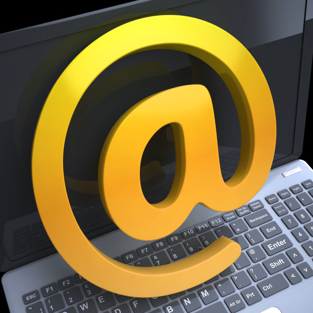 """""""Keyboard At Sign Shows Correspondence on Web"""" stock image"""