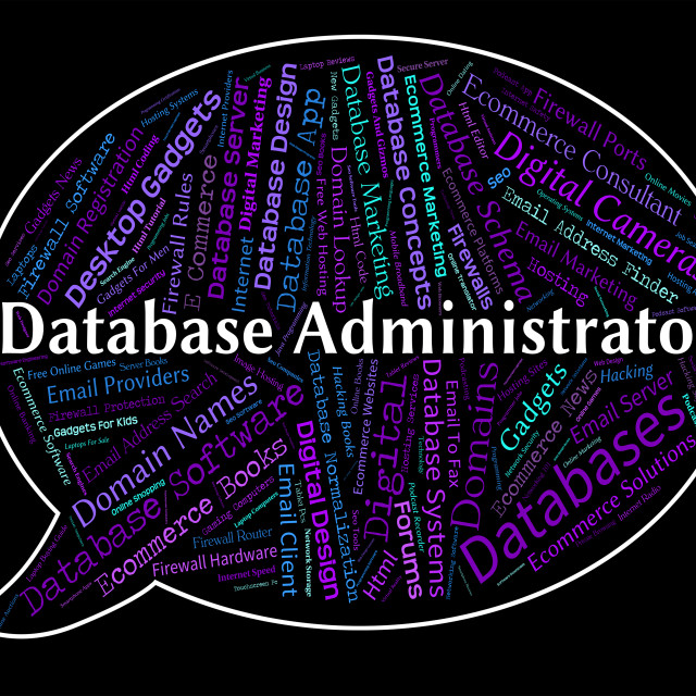 """""""Database Administrator Indicates Head Manager And Official"""" stock image"""