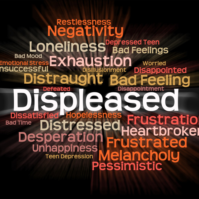 """Displeased Word Means Put Out And Aggravate"" stock image"