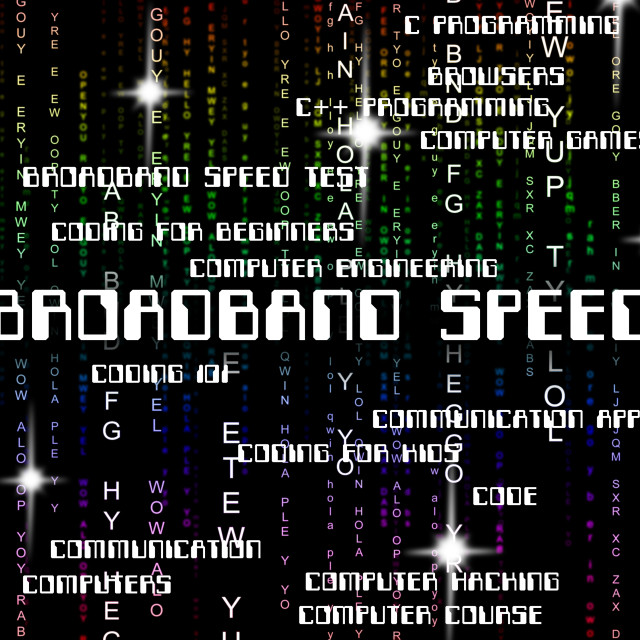 """Broadband Speed Means World Wide Web And Computer"" stock image"