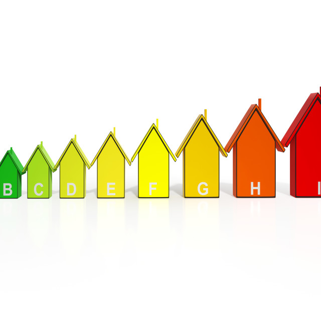 """""""Energy Efficiency Rating Houses Showing Eco Buildings"""" stock image"""