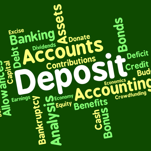 """""""Deposit Word Means Pre Payment And Deposited"""" stock image"""
