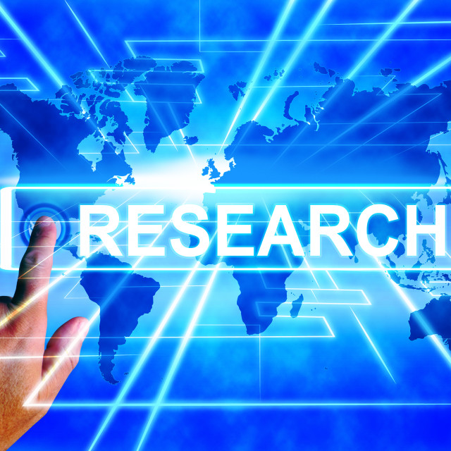 """""""Research Map Displays Internet Researcher or Researched Analyzing"""" stock image"""
