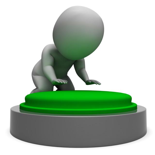 """""""Pushing Green Button Showing Start"""" stock image"""