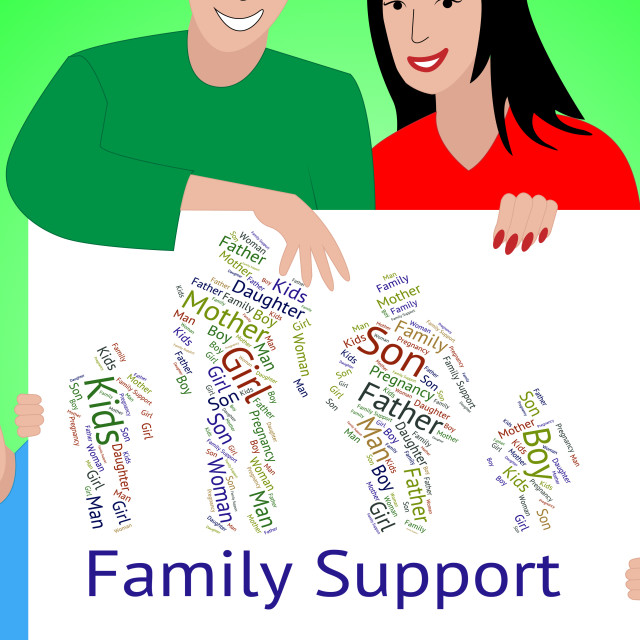 """""""Family Support Represents Blood Relation And Advice"""" stock image"""