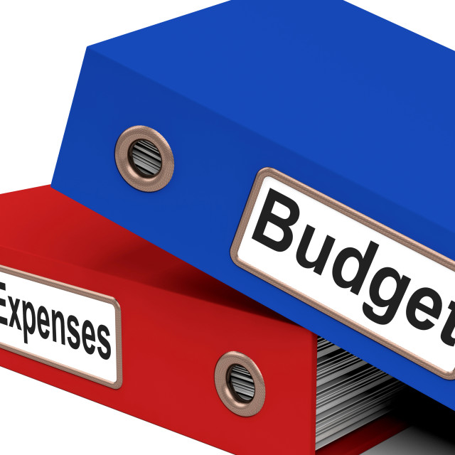 """""""Files Budget Indicates Correspondence Paperwork And Financial"""" stock image"""