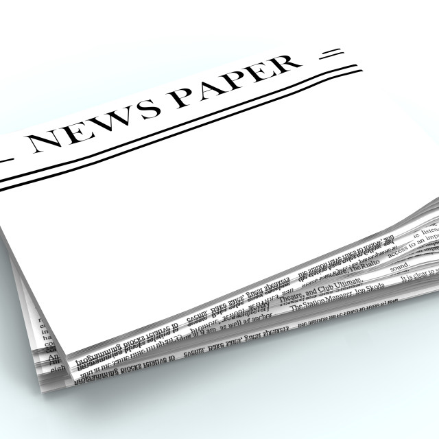 """""""Blank Newspaper With Copyspace Shows News Media Headline Space"""" stock image"""