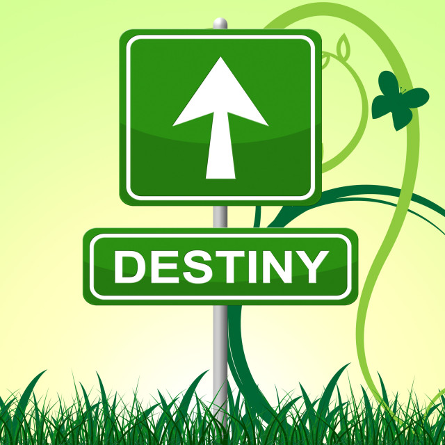 """""""Destiny Sign Represents Pointing Progress And Future"""" stock image"""