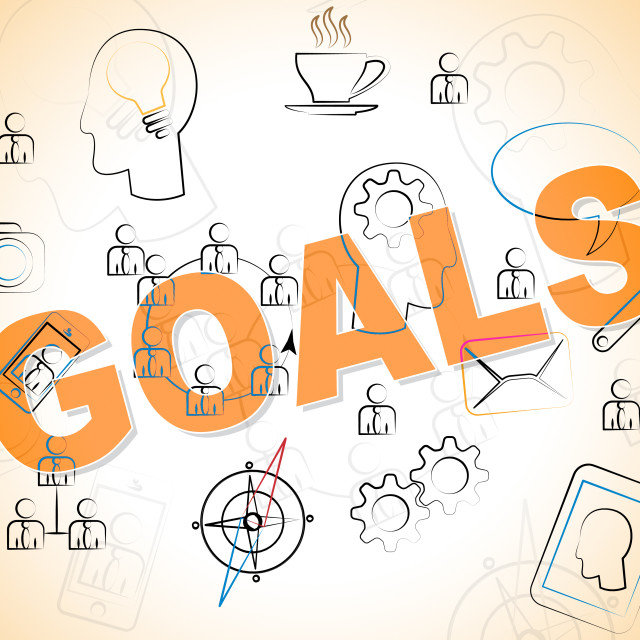 """""""Business Goals Means Objective Achieve And Corporation"""" stock image"""