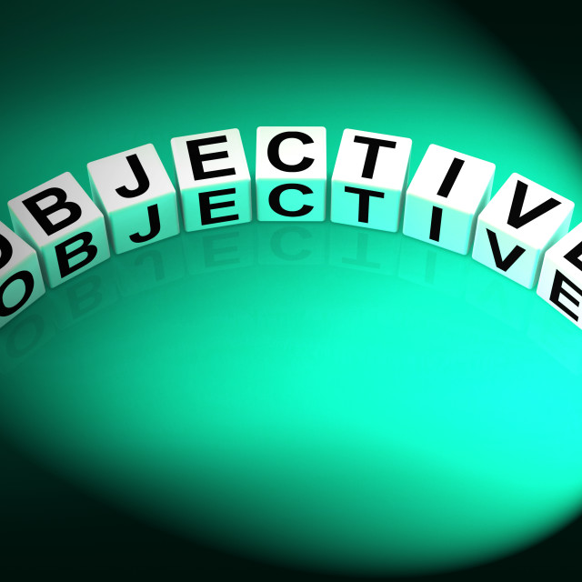 """""""Objective Dice Mean Goals Targets and Objectives"""" stock image"""