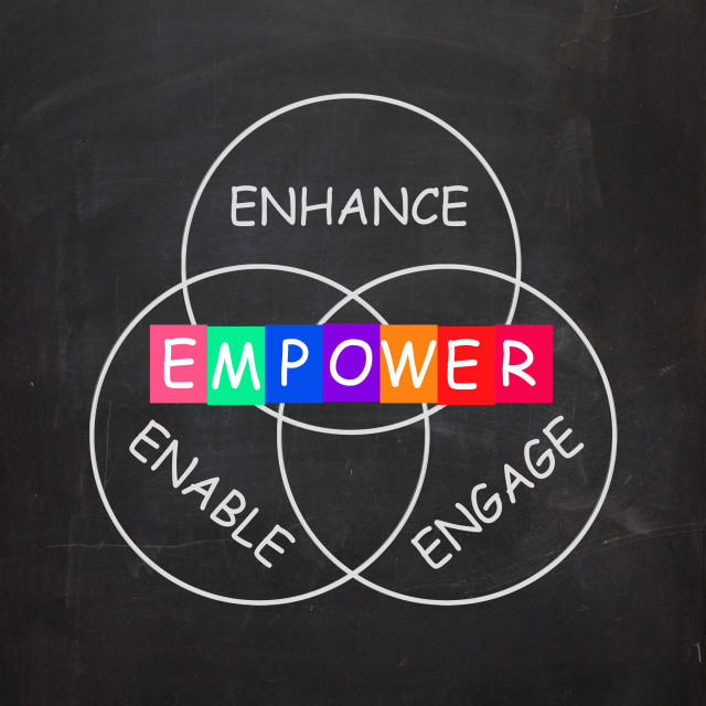 """""""Encouragement Words are Empower Enhance Engage and Enable"""" stock image"""