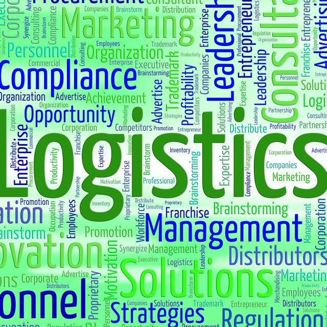 """""""Logistics Word Represents Coordinate Wordcloud And Plans"""" stock image"""