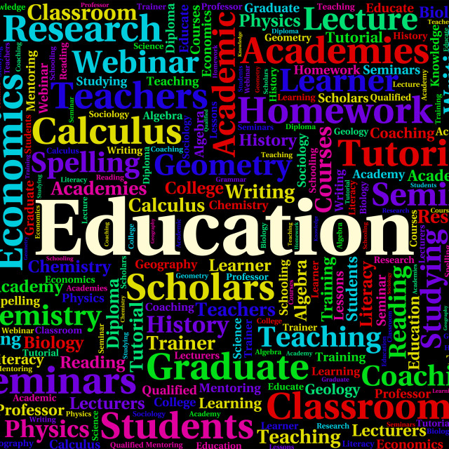 """Education Word Means Development Educate And Tutoring"" stock image"