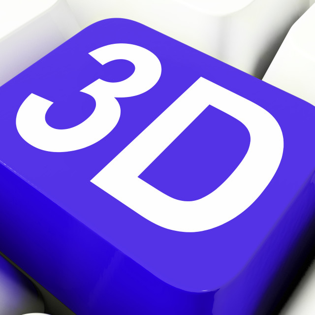 """""""3d Key Shows Three Dimensional Or Dimensions"""" stock image"""