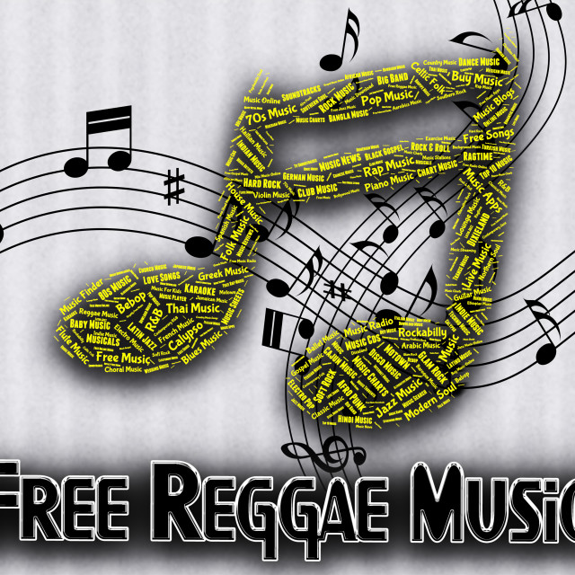"""Free Reggae Music Indicates For Nothing And Complimentary"" stock image"
