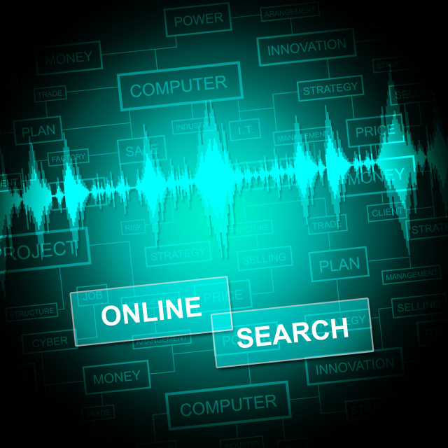"""""""Online Search Shows Gathering Data And Web"""" stock image"""