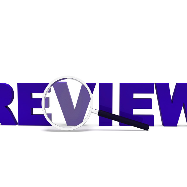 """Review Word Shows Reviewing Evaluating Evaluate And Reviews"" stock image"