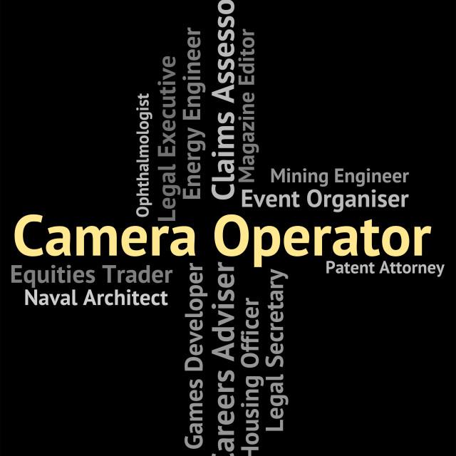 """Camera Operator Represents Machine Minder And Cameras"" stock image"