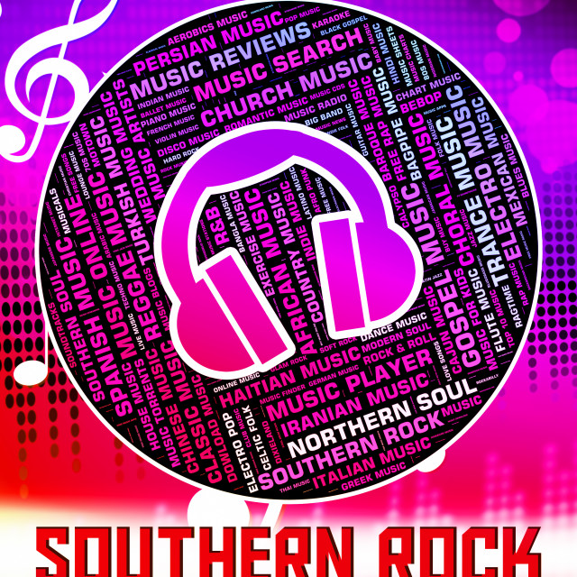 Southern Rock Shows Electric Guitar And Harmony - License