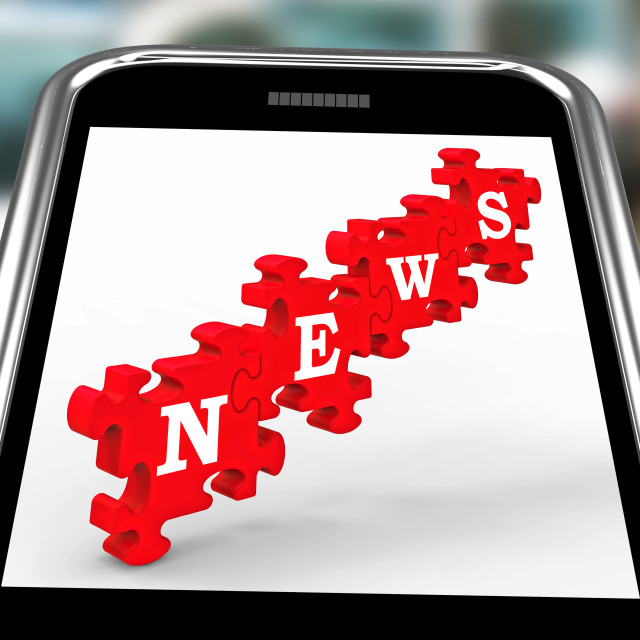 """News On Smartphone Showing Online Journalism"" stock image"