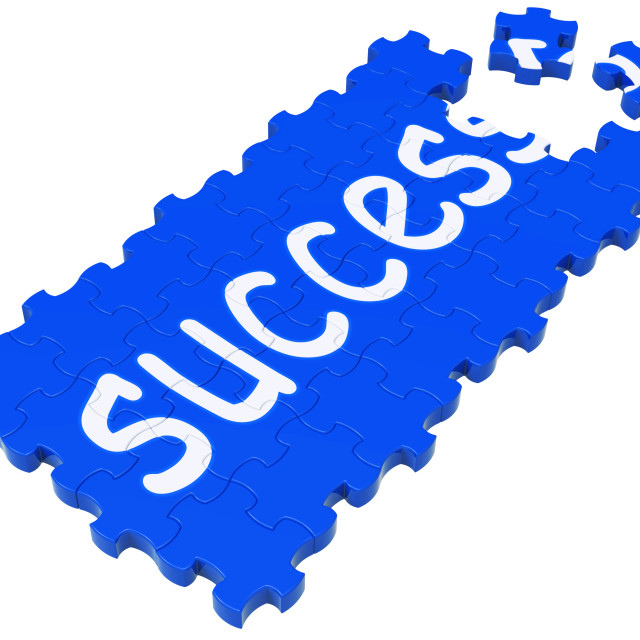 """""""Success Puzzle Shows Accomplishment And Successful Business"""" stock image"""