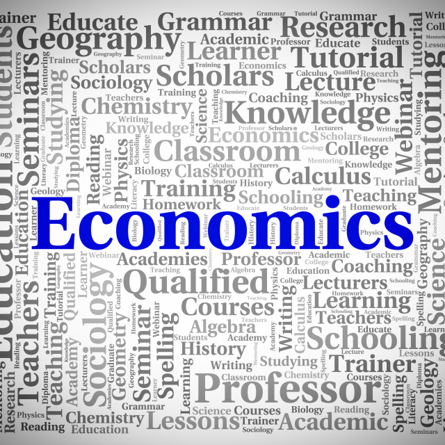 """Economics Word Indicates Text Monetary And Economize"" stock image"