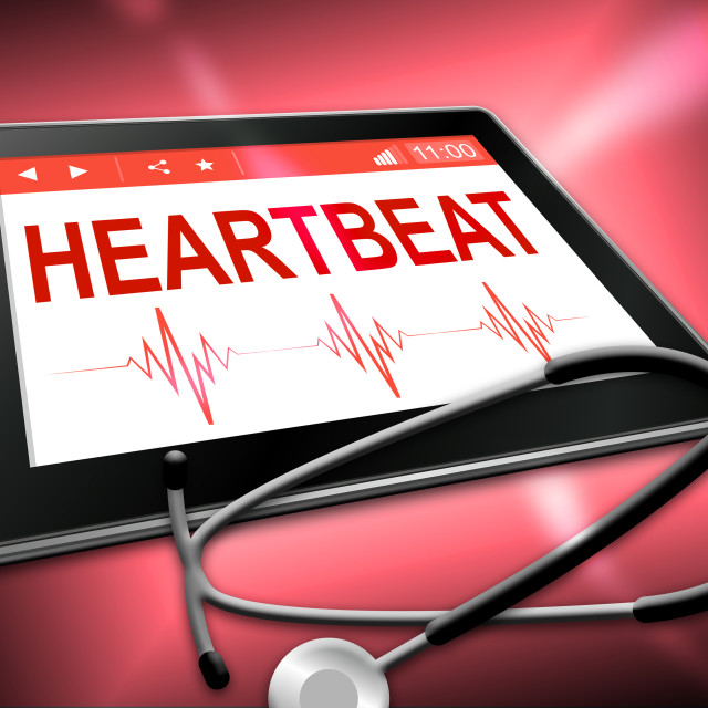 """Heartbeat Tablet Means Pulse Trace And Cardiology"" stock image"