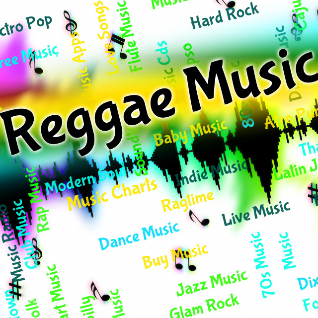 """Reggae Music Means Sound Tracks And Calypso"" stock image"