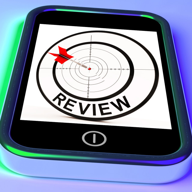 """Review Smartphone Shows Feedback Evaluation And Assessment"" stock image"