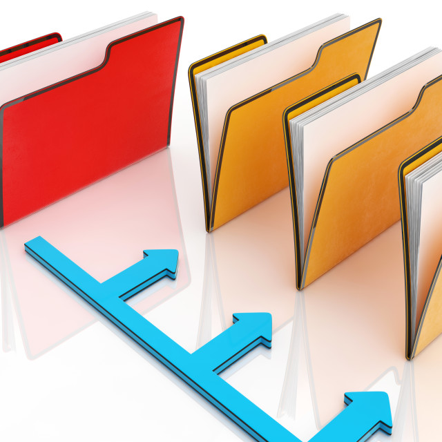 """""""Folders Or Files Shows Correspondence And Organized"""" stock image"""