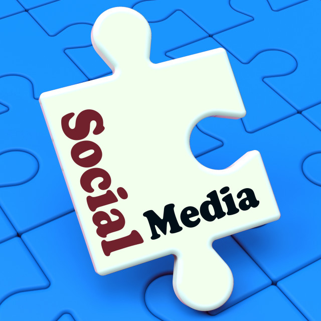 """""""Social Media Puzzle Shows Online Community Relation"""" stock image"""