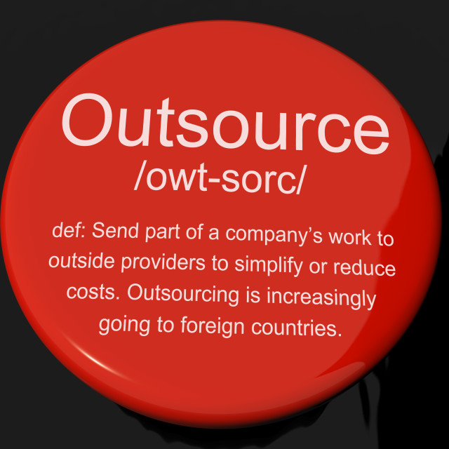 """Outsource Definition Button Showing Subcontracting Suppliers And Freelance"" stock image"