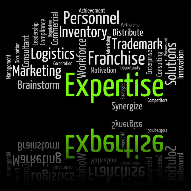 """Expertise Word Shows Educated Proficiency And Wordclouds"" stock image"
