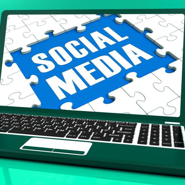 """Social Media On Laptop Shows Online Relation"" stock image"