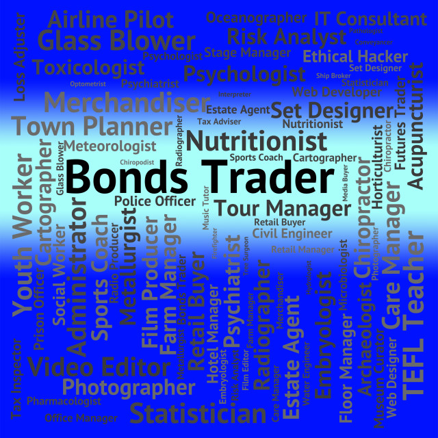 """""""Bonds Trader Indicates Employee Purchaser And Text"""" stock image"""