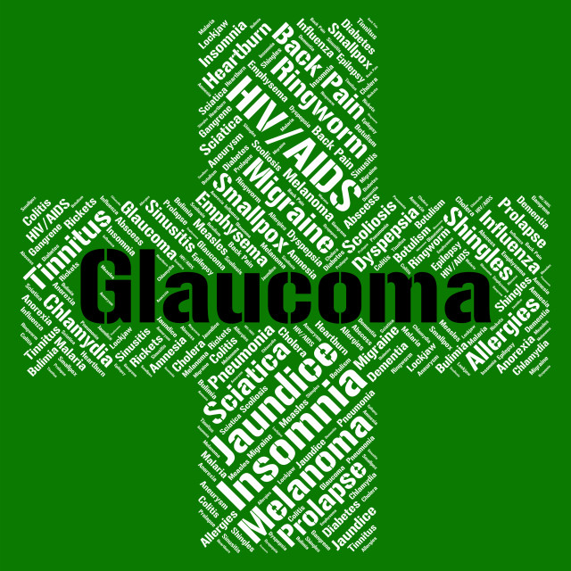 """""""Glaucoma Word Shows Eye Disorders And Ailment"""" stock image"""