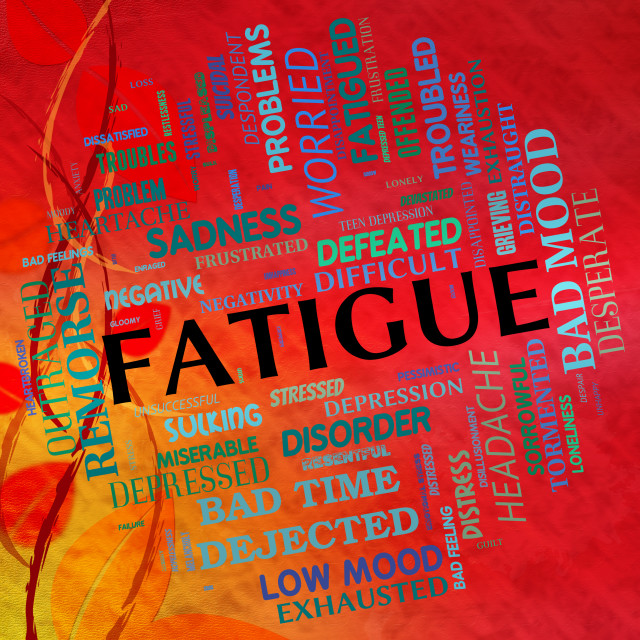 """""""Fatigue Word Means Lack Of Energy And Drowsiness"""" stock image"""
