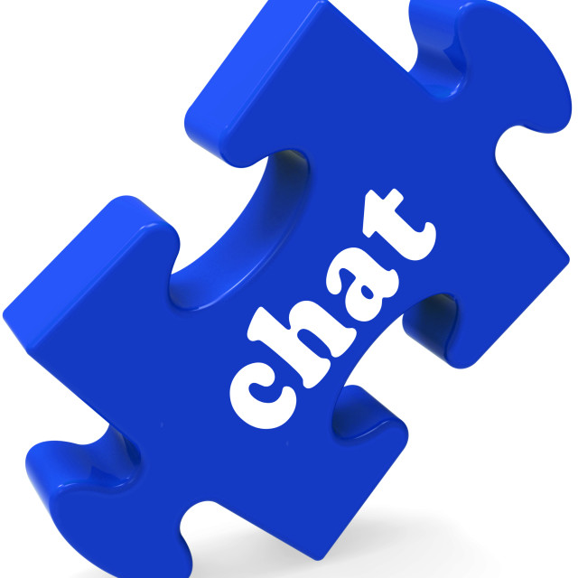 """Chat Jigsaw Shows Chatting Typing Or Texting"" stock image"