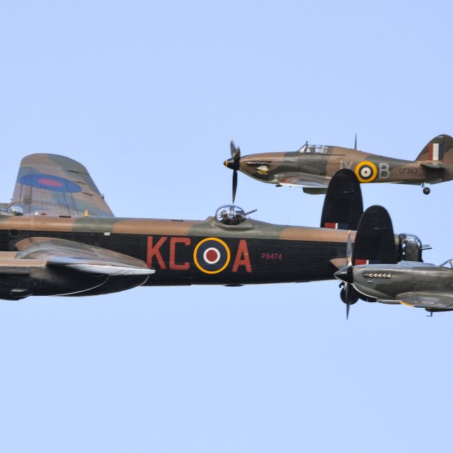 """Lancaster,Spitfire and Hurricane in formation"" stock image"