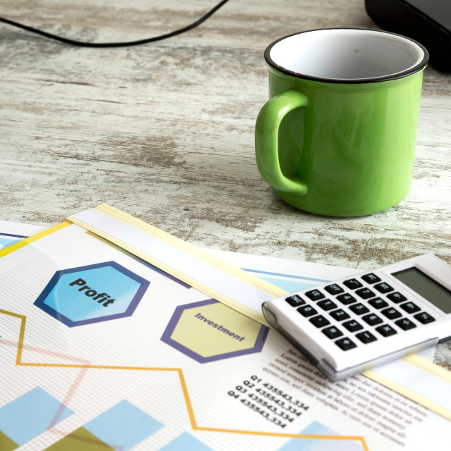"""""""Business Analytics with Coffee"""" stock image"""