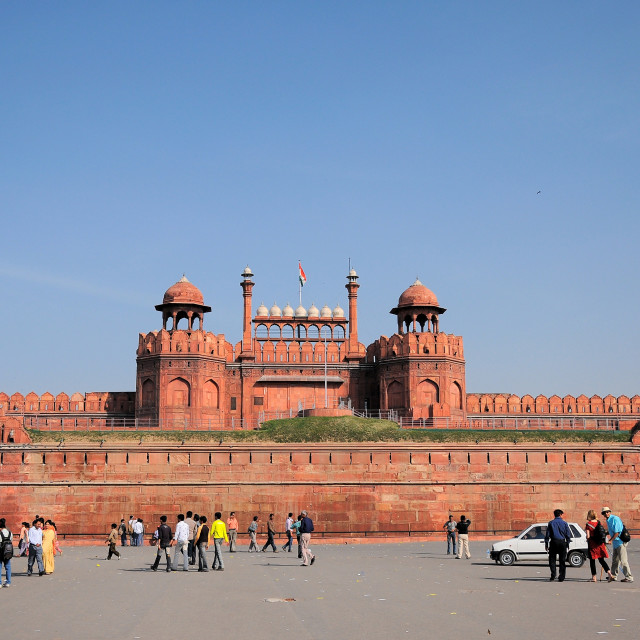 """India travel tourism background - Red Fort (Lal Qila) Delhi - World Heritage Site. Delhi, India"" stock image"