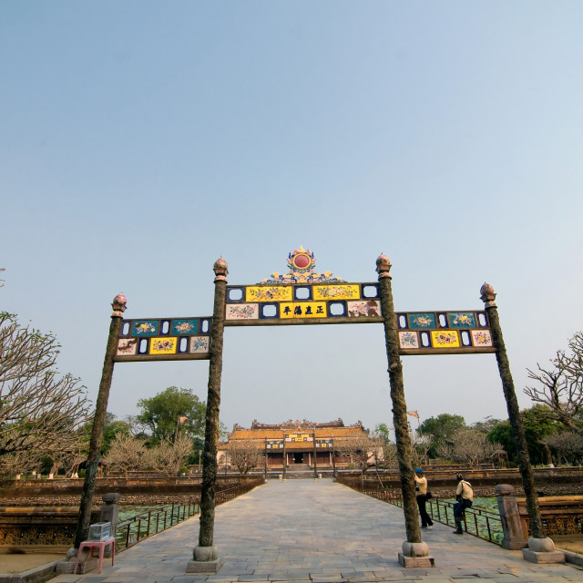 """Entrance gate to Citadel Imperial Forbidden City with roayal palace, Hue, Vietnam"" stock image"